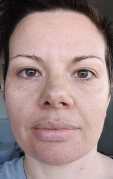 Fresh faced, NO makeup, This photo was taken on April 28th, before starting any new regime.